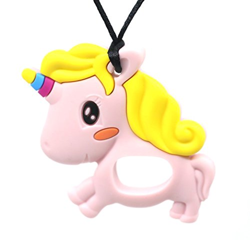 Unicorn Teething Chew Beads Pendant Necklace for Mom,Baby Ch