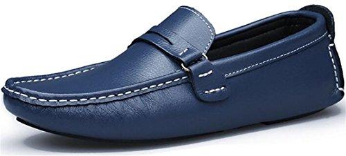Ppxid Menns Skinn Slip-on Loafers Tilfeldige Kjøre Oxford Sko Blå