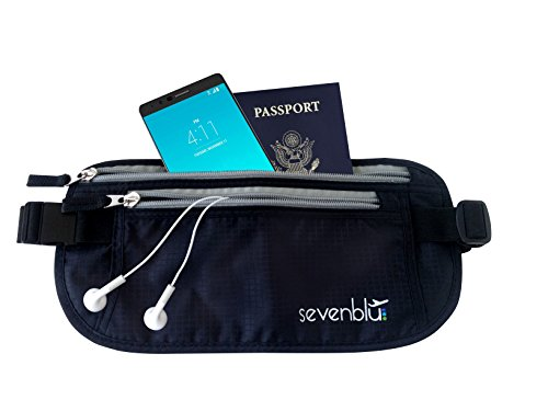 SevenBlu ★ #1 RFID Travel Money Belt and Passport Holder ★ Fits Big Bills - 365 Days Warranty - Protect Your Cash, Credit Cards, IDs, Document & Phone with this Secret Hidden Waist Pack Bag - Perfect Undercover Wallet Pouch for Men & Women - Great Luggage / Travel Accessory