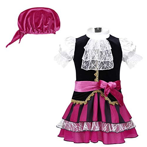 (YiZYiF Little Pirate Costume Baby Girl Princess Bubble Sleeves Pirates Dress with Headscarf and Belt Set Fuchsia 0-6)