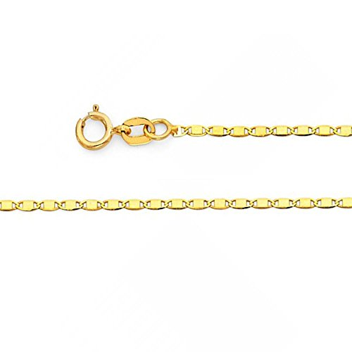 14k Solid Yellow Gold 1.3mm Valentino Chain Necklace with Spring Ring Clasp - 16