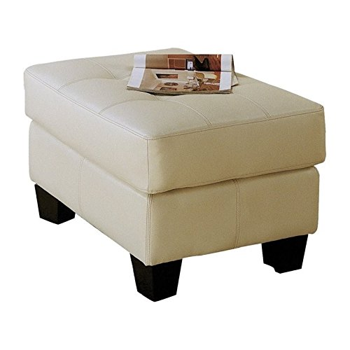 Cream Ottoman - Coaster Samuel Contemporary Leather Ottoman, Cream