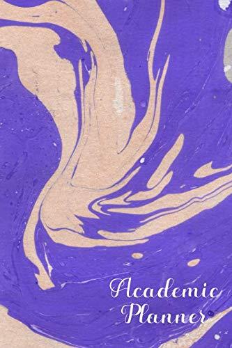 Academic Planner: 52 Week July 2019 - June 2020 Medium Agenda : Purple & Beige Paint Swirl Design Cover