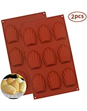 Baker Boutique Silicone Madeleines Mold - 9 Cavities Nonstick Silicone Mold, Baking Mold, Handmade Soap Moulds, Ice Cube Tray, Silicone Madeleines Pan for Cake/Chocolate/Candy/Biscui,Set of 2(Red)
