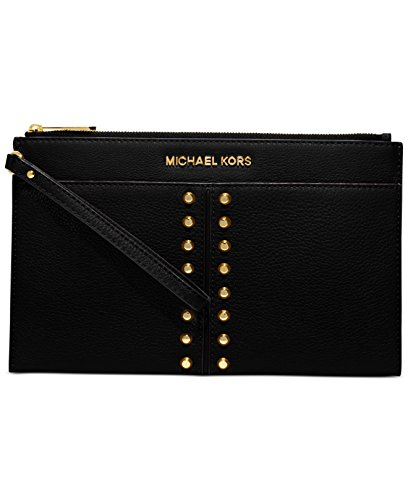 Michael Kors Astor Chain Black Leather Gold Studded Wrist Zip Clutch Bag by Michael Kors