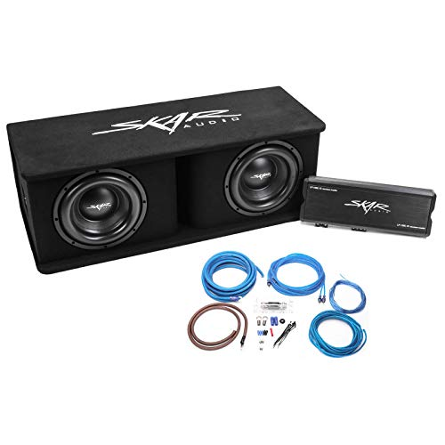 Skar Audio Dual 10″ Complete 2,400 Watt SDR Series Subwoofer Bass Package – Includes Loaded Enclosure with Amplifier