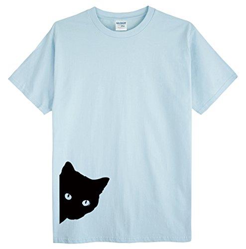 敏感なアッパー厳密に(ゴジラ千) GODZILLASENN メンズtシャツ ネコここにいるんだ 柄プリントTシャツ ブルー L