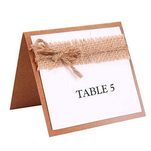 Ocamo - 10 tarjetas de asiento de mesa con lazo de yute y números de mesa de boda clásico para decoración de boda