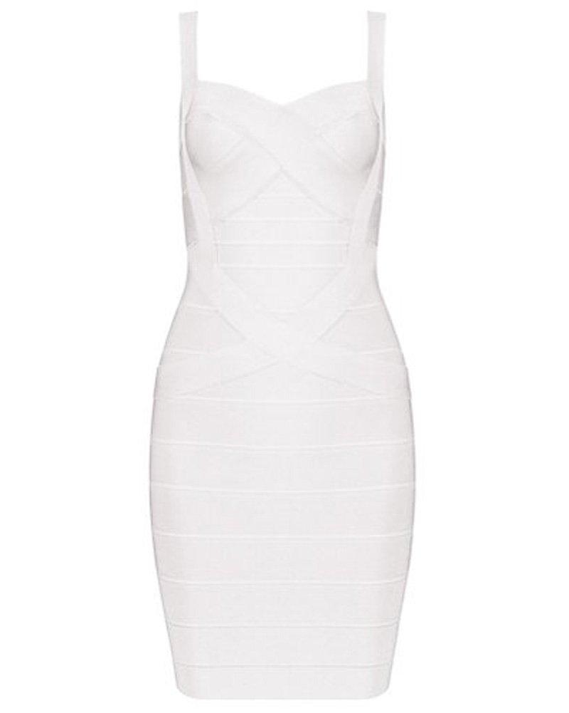 UONBOX Women's Rayon Cute Sleeveless Bodycon Bandage Strap Dress (L, White-Polyester)