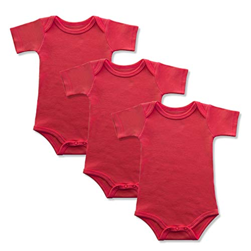 GLEAMING GRAIN 3-Pack Soft Cotton Newborn Boys Bodysuit Short Sleeved Colored Baby Onesie (12M, Red)