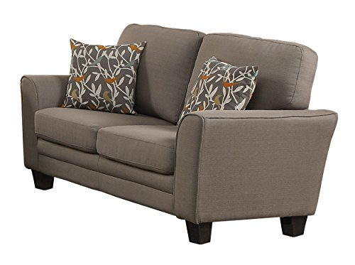 Fully Upholstered with Piping Trim Linen Like Fabric Grey Love Seat (Homelegance Upholstered Sofa)