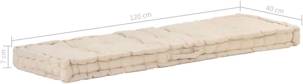 VidaXL Coussin de palette en coton Beige 120 /× 40 /× 7 cm