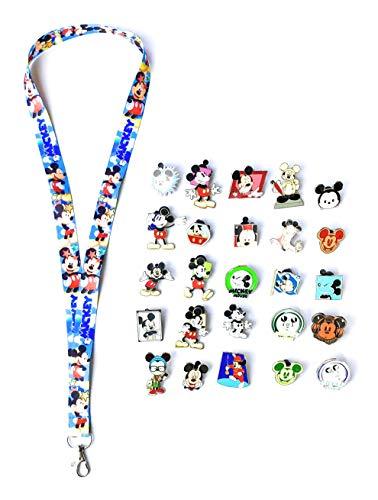 Disney Pins Mickey Mouse Stars Lanyard Trading Pins + Tips & Tricks Guide (Mickey Mouse Lanyard + 12 Pins)
