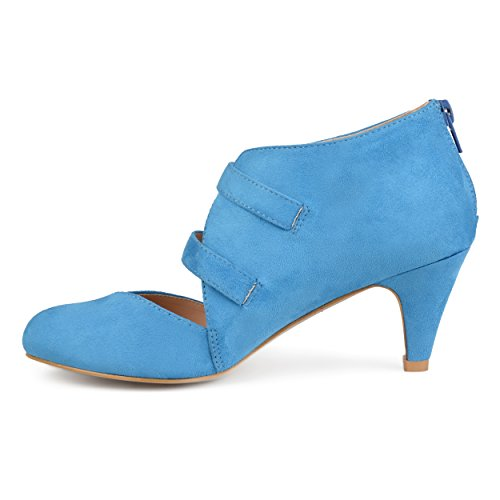 Brinley Co Womens Onyx Faux Suede Comfort Sole Sweetheart Toe Dual Buckle Heels Blue 5PLPXq2