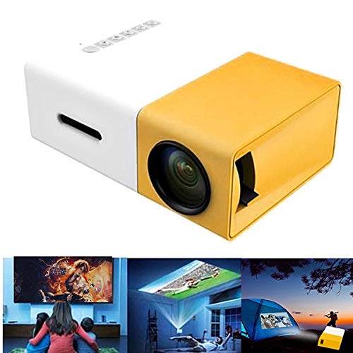 Wjtence Mini Projector Portable Theater Home Office HD 1080P Yellow New with HDMI USB AV Interfaces and Remote Control