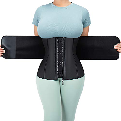 ASHLONE Women Waist Trainer Latex Corset Sweat Workout Cincher Girdle Tunmmy Control Belly Belt