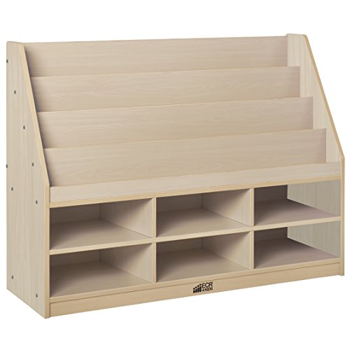 ECR4Kids Colorful Essentials 4-Tier Book Display Stand with 6 Storage Compartments, Maple (Living Bookcase Room Maple)