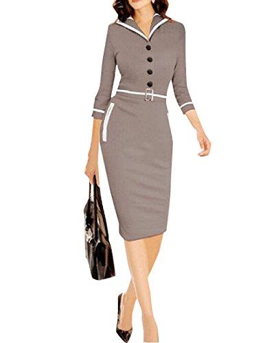 Coolred-femmes Mode Porter Pour Travailler Taille Haute Manches 3/4 Gris Robe D'affaires