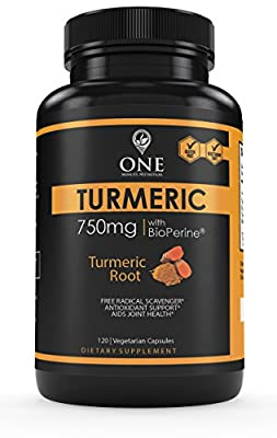 Turmeric Curcumin Supplement with BioPerine by One Minute Nutrition - Natural Pain Relief & Joint Support Supplement (1500mg Per Serving, 95% Standardized Curcuminoids) - Made in USA, 120 Capsules