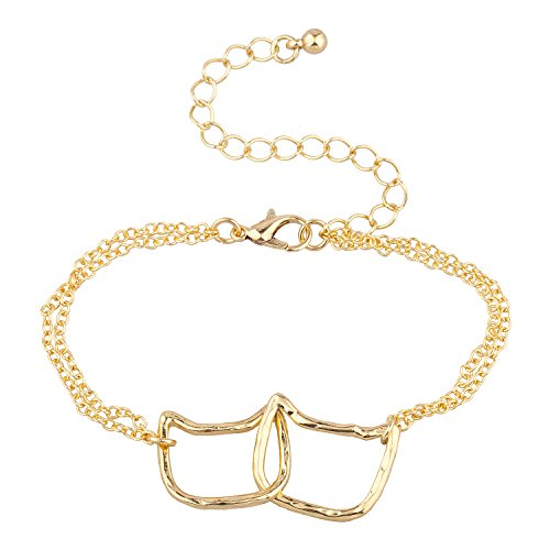 Lux Accessories Gold Tone Interlocking Cat Cat Ear Double Row Chain Bracelet