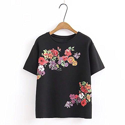 XMY Sommer Damen Elegant und Vielseitig Video Thin Blumen Kurzarm T-Shirt T-Shirt Schwarz