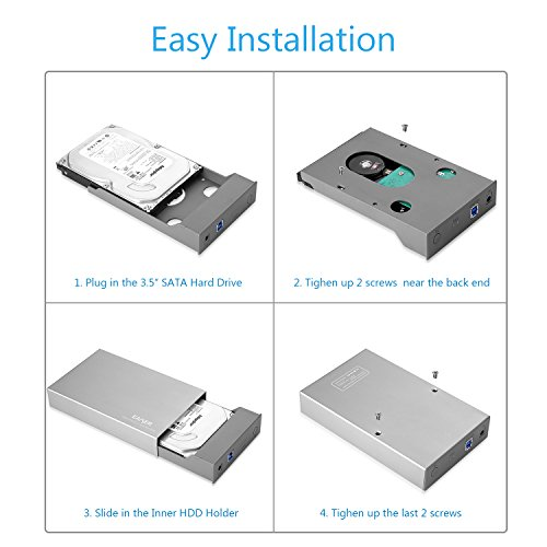 EAXER Aluminum USB 3.0 Hard Drive Disk External Enclosure Case for 3.5 Inch SATA HDD and SSD [Support Automatic Sleep Function, UASP & 8TB Drives] by Eaxer (Image #4)