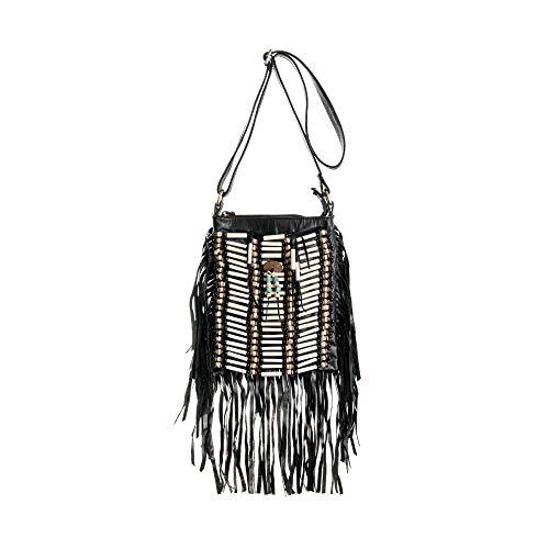 Black Boho Bag | Real Leather | Fringe Purse | Bohemian Bags | Hobo Tote Handbag