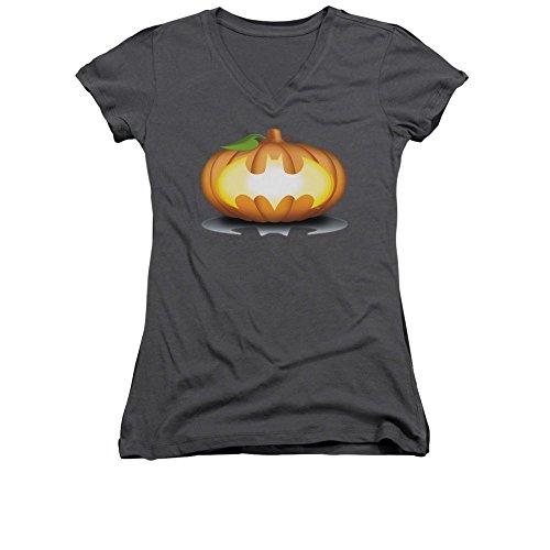 Batman - Bat Pumpkin Logo Junior V-Neck T-Shirt -