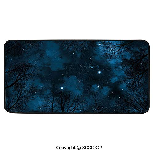 Soft Long Rug Rectangular Area mat for Bedroom Baby Room Decor Round Playhouse Carpet,Night Sky,Spooky View Through Forest Branches Trees Foggy Sky with,39