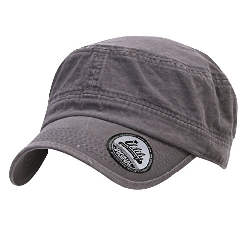 Back Cadet Cap - ililily Military Vintage Biker Cotton Cadet Cap Stretch Flex Back (cadet-420-5)