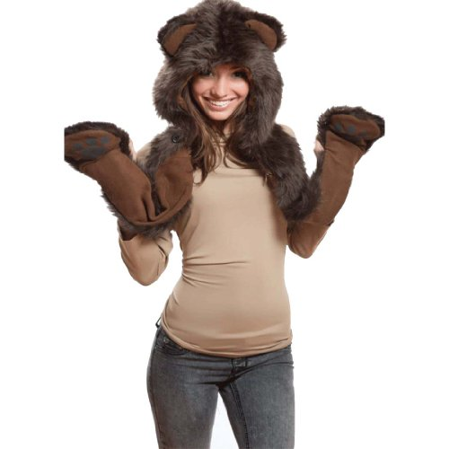 - Brown Bear Full Animal Hood Hoodie Hat Faux Fur 3 in 1 Function