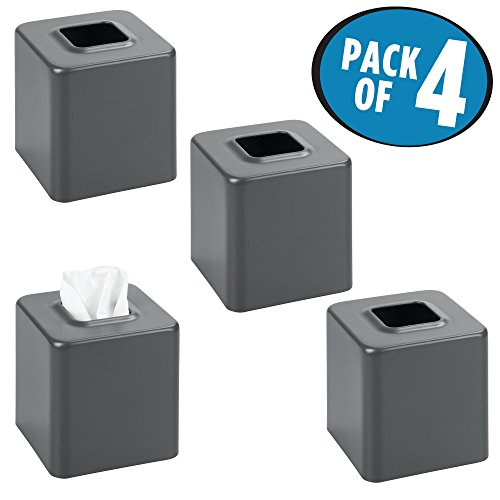 mDesign Square Paper Facial Tissue Box Cover Holder for Bathroom Vanity Countertops, Bedroom Dressers, Night Stands, Desks and Tables - Pack of 4, Steel, Matte Slate/Dark Gray (Iron Tables Nesting Square)