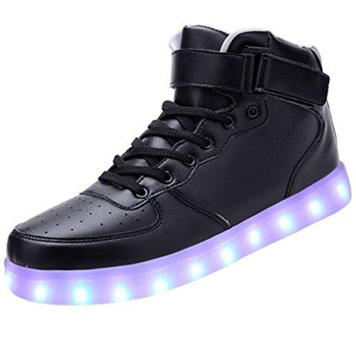 (Present:kleines Handtuch)JUNGLEST High-Top mit Velcro 7 Farbe LED Leuchtend Sport Schuhe Glow Sneakers USB Aufladen Turnschuhe für Unisex Herren Da Schwarz