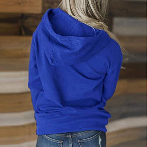 De Casual Zhrui Longues Chemise À Bateau shirt Oversize Blouse Femmes Lâche Pullover À Blue Capuche Élégant Manches Encolure Longue T Lung xzrxOaB