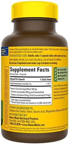 Nature Made Turmeric Curcumin 500 mg Capsules, 120 Count for Antioxidant Support 10