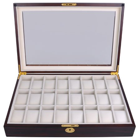 Lockable Wooden Watch Display Case Made of Ebony with Matte Stain and Glass Top: Holds 24 Watches by AV Prime Inc. (Image #2)