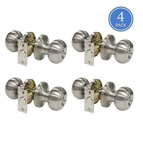 Knobs 4pk - Satin Nickel Finish Durable Privacy Door Knobs(Keyless-Locked by Turn-Button Inside), Bedroom Bathroom Door Lock Interior, Flat Ball Style Door Knob, 4 Pack