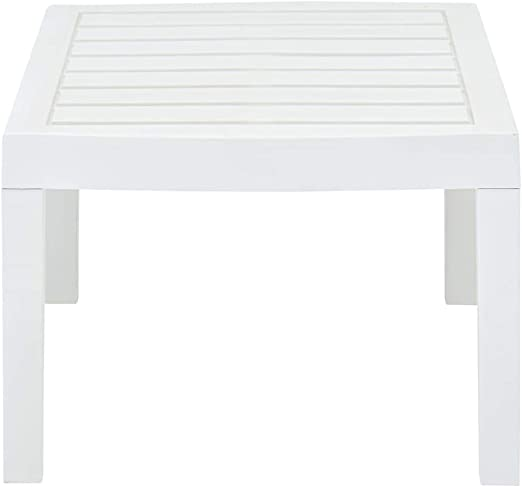 Garden or Porch Rectangular Side Accent Table Coffee End Table for Backyard Outdoor Bistro Table vidaXL Patio Lounge Table with Slatted Design 30.7x21.7x15 inch Plastic