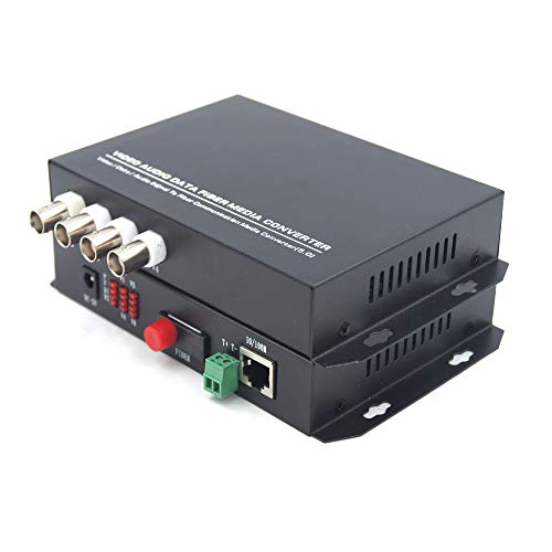 Primeda-telecom 4 Channels Video and Ethernet Over Fiber Optic Media Converters, Singlemode Fiber up 20Km (Include Transmitter and Receiver) for Video Surveillance System ()