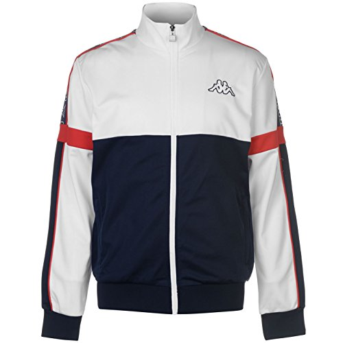 Kappa Mens Panel Jacket Tracksuit Top Coat Long Sleeve Zip Full Block Colour White Large by Kappa