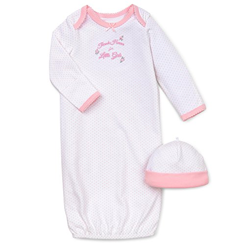 (Little Me Baby Girls' Gown and Hat Set, Pink, 0-3 Months)