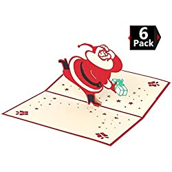 Peicees 3D Christmas Card Santa Claus Pop Up Greeting Cards Holiday Valentine Mothers Fathers Day Thanks Giving Day Card Best Gift Set of 6