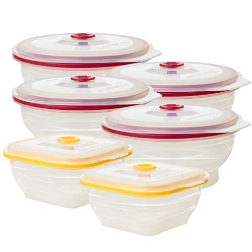 Collapse-it Silicone Food Storage Containers - BPA Free Airtight Silicone Lids, 6 Piece Variety Set of 2-Cup & 4-Cup Collapsible Lunch Box Containers - Oven, Microwave, Freezer Safe