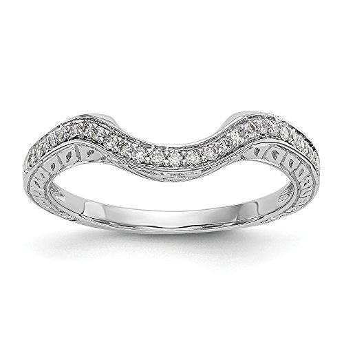 JewelrySuperMart Collection 1/8 CT 14k White Gold Curved Diamond Wedding Band with Fancy Undercarriage. 0.14 - Lockshank Shank