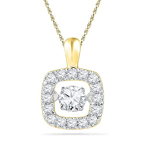 (Jewel Tie Solid 10k Yellow Gold Round Diamond Square Moving Dancing Rhythm Twinkle Pendant (1/4)