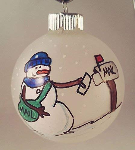 Snowman Mail Carrier Hand painted Ornament 2019