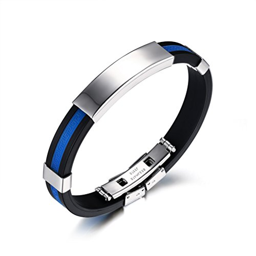 Stainless Bracelet Bangle Texture Silicone