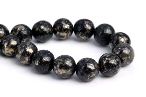 8mm Natural Black Gold Pyrite Grade Round Gemstone Loose Beads 7.5'' Crafting Key Chain Bracelet Necklace Jewelry Accessories Pendants