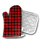 Custom Red Black Buffalo Check Plaid Silicone Oven Mitts And Pot Holder Kitchen Set Non-Slip Grip,Heat Resistant, Oven Gloves And Pot Holders 2pcs Set For BBQ Cooking Baking,Grilling,Machine Washable.