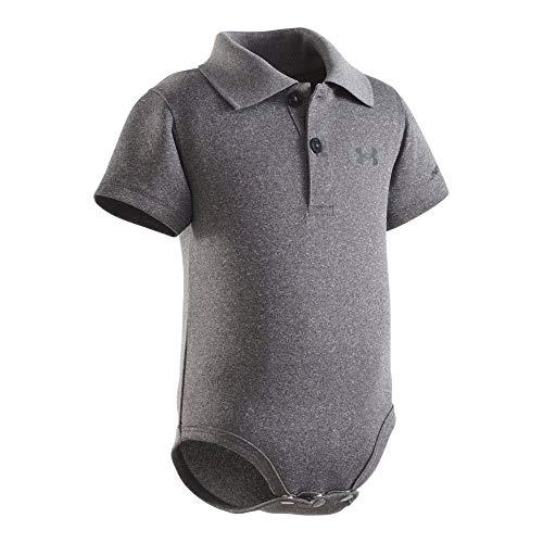 Under Armour Baby-Boys' Polo Bodysuit,Carbon Heather (27690007-04) / White,0-3 Months